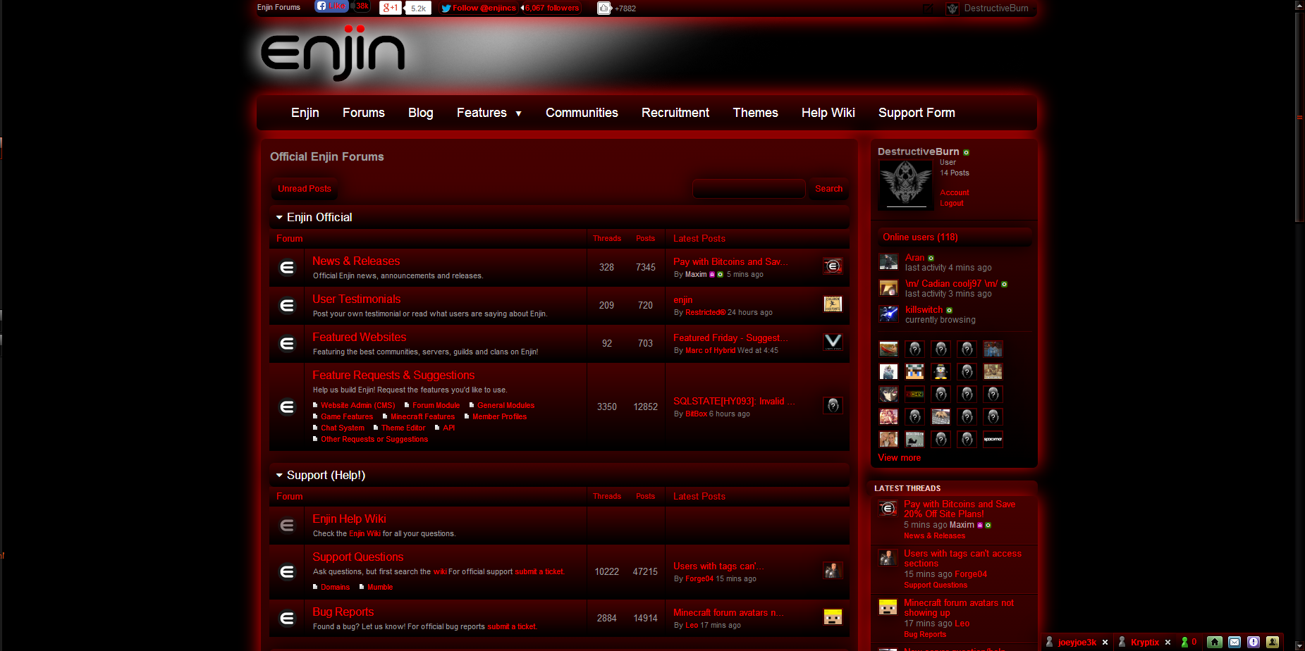 Enjin Forums & Editor Black & Red UI Style For Chromium Platforms Only